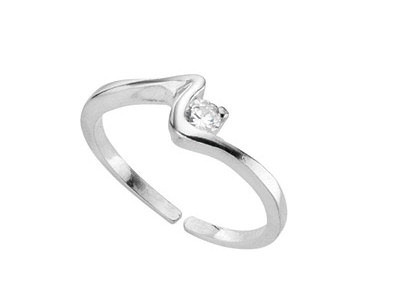 Sterling Silver CZ Squiggle Toe Ring