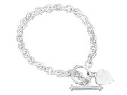 Heart Tag T-Bar Bracelet 20cm
