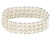Three Strand Small White Pearl Stretch Bracelet