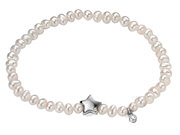 While Pearl Stretch Bracelet with Clear CZ Star Charm