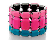 Fiorelli Ladies Pink And Blue Stretch Wide Bracelet