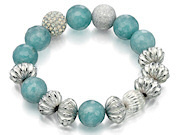 Fiorelli Ladies Aquamarine And Silver Multi Beaded Bracelet