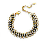 Fiorelli Ladies Black and Gold Woven Linked Bracelet with Clear Crystals