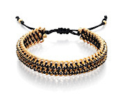 Fiorelli Ladies Gold Chain Woven Black Stone Bracelet