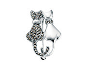 Marcasite & Plain Double Cat Brooch