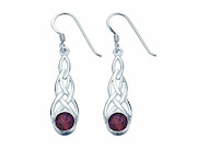Garnet Colour Cz Celtic Earring