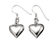 Small Puffed Heart Drop Earring