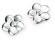 D For Diamond Girls Flower Stud Earrings