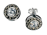 Round Marcasite & CZ Earring