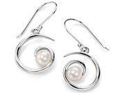 Silver Spiral Earring with White Pearl