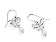 Butterfly Earrings with Pearl Drop