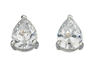 Clear Cz Teardrop Stud Earrings