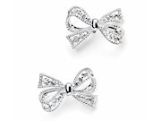 Womens Silver And CZ Bow Earrings