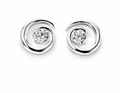 Womens Spiral Stud Earring With Clear CZ