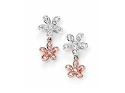 Womens Gold Plated And Silver Flowers Earring