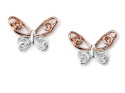 Ladies  Butterfly Studs with Rose Gold Plated Detail