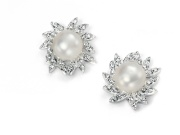 Ladies Clear CZ and Freshwater Pearl Cluster Earring