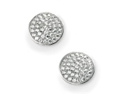 Ladies Rhodium Plated Clear CZ Pave Disc Earring