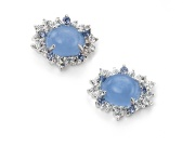 Ladies Blue Chalcedony and CZ Cluster Earring