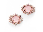Ladies Rose Gold Plated Rose Quartz and CZ Cluster Earring
