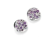 Ladies Purple CZ Disc Earring