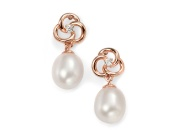 Ladies Rose Gold Plated Freshwater Pearl Flower Drop Earring
