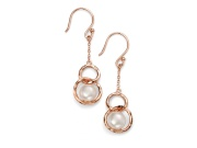 Ladies Rose Gold Plated Freshwater Pearl Link Earring