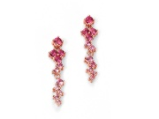 Ladies Rose Gold Plated Pink CZ Cluster Earring