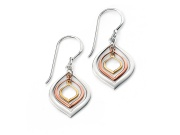 Ladies Gold and Rose Gold Plated Triple Lantern Shaped Earring
