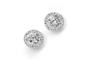 Ladies Pave Disc Stud Earring with Clear Round CZ