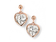 Ladies Rose Gold Plated Clear Swarovski Crystal Heart Earring