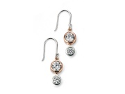 Ladies Rose Gold Plated Triple CZ Drop Earring