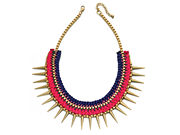 Fiorelli Ladies Gold, Pink and Navy Woven Spike Necklace