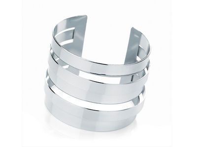 Silver Multi-Layered Cuff Bangle
