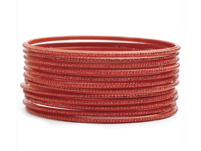 Red Narrow Glitter Bangles
