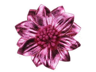 Metallic Hot Pink Flower Hair Clip
