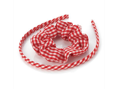 Girls Red Gingham Scrunchie and Headband School Hair Set