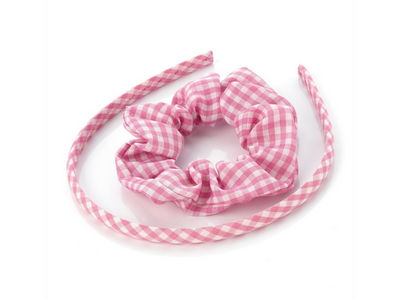 Girls Pink Gingham Scrunchie and Headband Hair Set