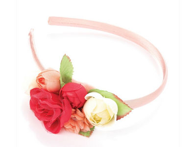 Pink Cream Flower Bouquet Alice Headband