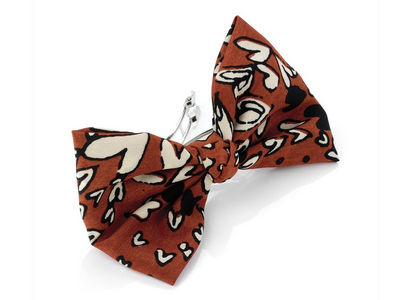 Rust Heart Fabric Bow Barrette