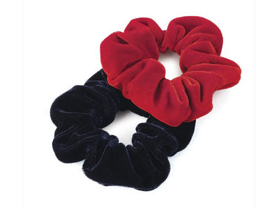 Red/Navy Velvet Scrunchie Hair Bobbles