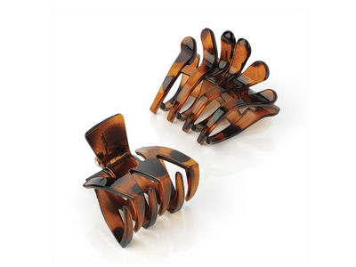 Tort Brown Plastic Hair Claw Clamp Clips