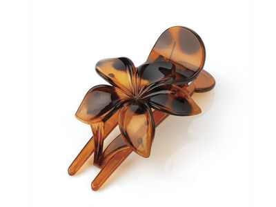 Tort Brown Flower Fork Hair Clip Comb Clamp