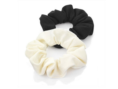 Plain Black/Cream Hair Scrunchie Bobbles