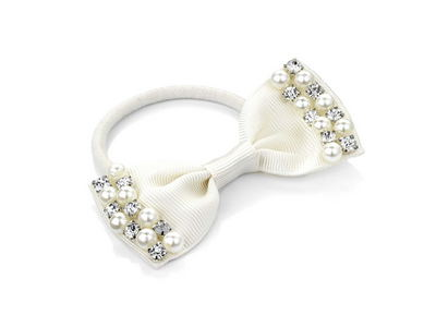 Ivory Crystal Pearl Bow Ponytail Hairband