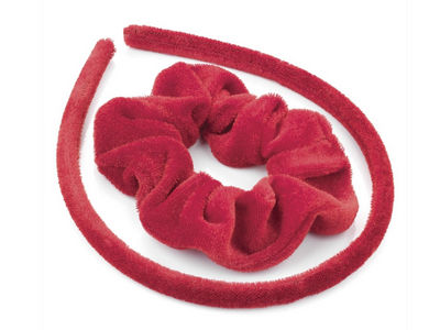 Girls Red Velvet Scrunchie and Headband Hair Set