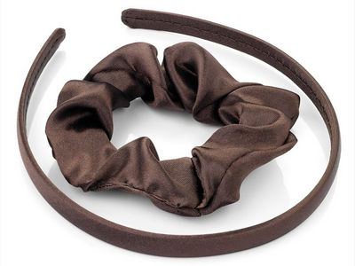 Girls Brown Satin Scrunchie and Headband Hair Set