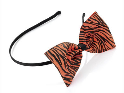 Neon Orange Animal Print Bow Headband