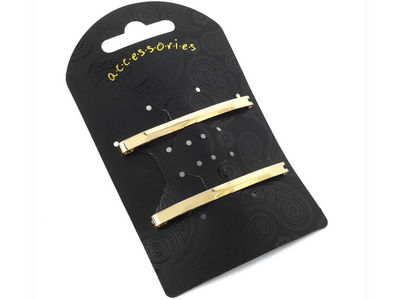 Gold Single Bar Clip In End Barrettes