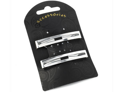 Silver Rectangle Clip In End Barrettes